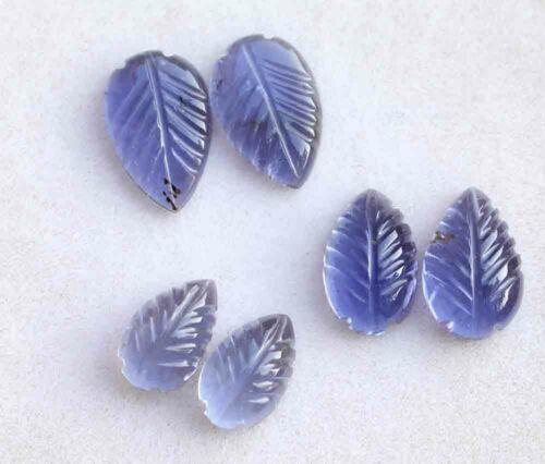 Blue Iolite Carved Cab Cabochon 8x13 MM. Oval 12.00 Carat