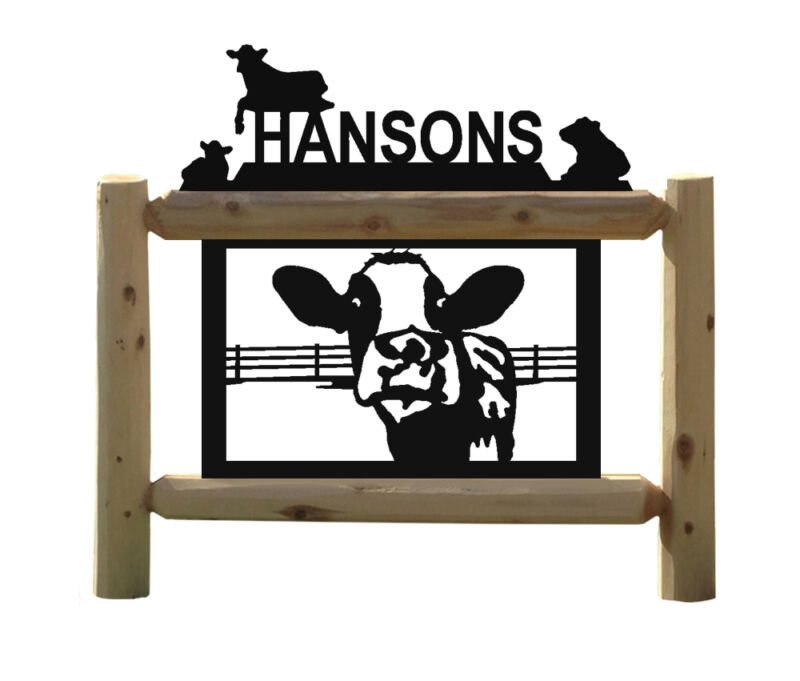 OUTDOOR SIGNS - HOLSTEIN COWS - FENCE -FARM AND RANCH DECOR