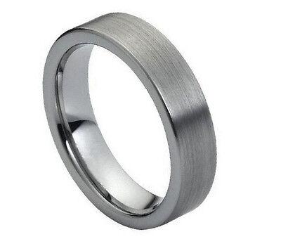 6mm Men & Ladies Tungsten Carbide Brushed Pipe Cut Wedding Band Ring Cut Tungsten Wedding Ring