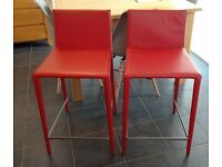 2 x Arper Norma leather Counter Bar Stools Red PICK UP ONLY WA8 Cost over £1100