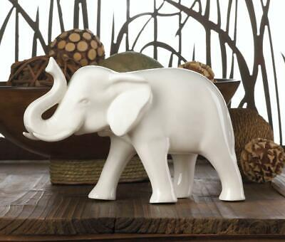 Standing Lucky SLEEK WHITE CERAMIC AFRICAN ELEPHANT Figurine Statue -