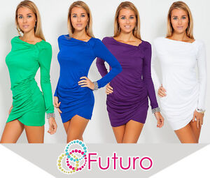 Trendy-Womens-Mini-Dress-Long-Sleeve-Asymmetric-Neck-Tunic-Sizes-8-18-6053