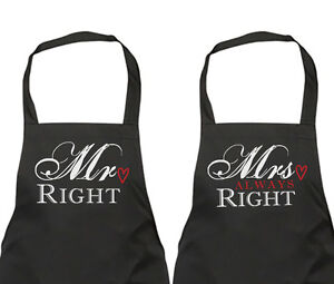 Couples Apron Set Mr Right Mrs Always Right Wedding Gift Present Anniversary