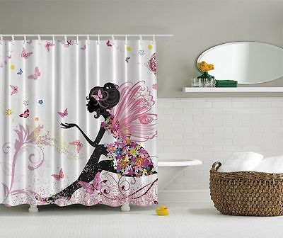 Cute Fairy Wings Shower Curtain Spring Colorful Butterflies Flowers Bath Decor (Spring Fairy Wings)
