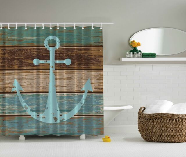 Rustic Old Anchor Graphic Shower Curtain Wooden Deck Beach Nautical Bath Decor