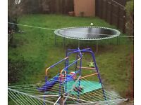 Climbing frame and trampoline. Needs dismantling and taking