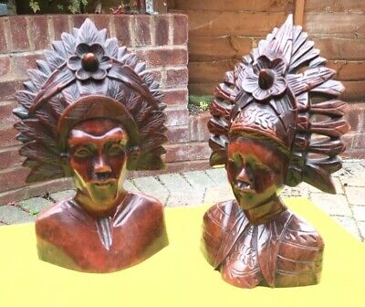 Antique Pair Of Polynesian Hand Carved Busts.