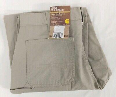 NEW Carhartt Canvas Work Dungaree Pants Loose Original Fit Tan 36x34 Khaki B151