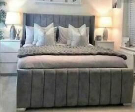 ALPHA BED DOUBLE/KING SIZE WITH/WITH OUT ORTHOPAEDIC MATTRESS DIFFERENT FABRIC AND COLOURS