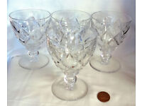 large heavy crystal cut glass goblets