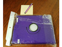 Purple Leather Case with Stylus For Apple iPad 2, 3 & 4 (4th Gen)