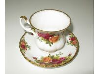 Cup and Saucer, Old Country Roses Design by Royal Albert.