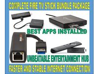 AMAZON FIRE TV STICK 2ND GEN. AND ETHERNET ADAPTOR BUNDLE + KODI AND MORE HANDY APPS