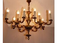 Rare & Unusual Large Old French Antique Dark Patina BRASS 12 Arm Chandelier, Very Ornate