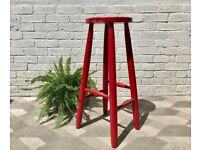 Vintage Wooden Bar Stool Elm Red #733