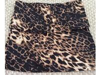 Ladies peplum Leopard print skirt size medium