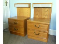 Unusual Retro / Vintage 70s G Plan Pair matching Bedside Cabinet / Chest of Drawers Light&2 Drawers