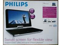 "Philips PET1031 10.2"" Portable DVD Player. 180-degree swivel LCD, multi-region, all original packing"