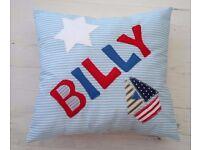Personalised Boys Nursery Bedroom Decoration Cushion Blue Boat Christening Present