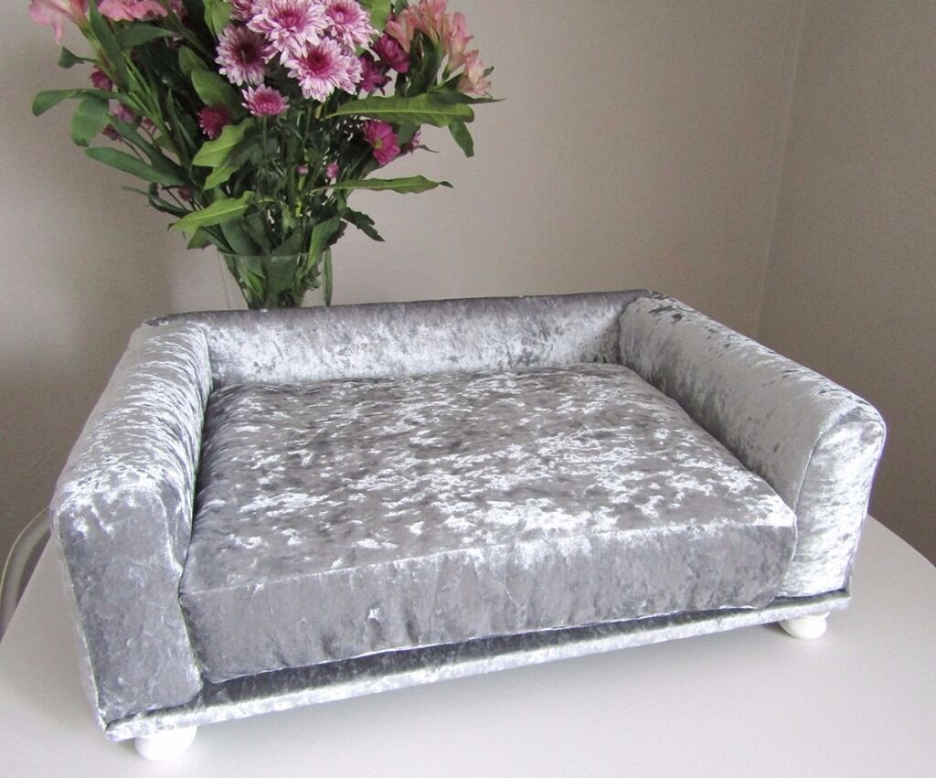 Small Luxurious Handmade Orthopedic Memory Foam Silver Crushed