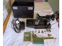 SINGER FEATHERWEIGHT 221 SEWING MACHINE (1954/55), PLUS ORIGINAL SIMANCO ATTACHMENTS, FULLY SERVICED