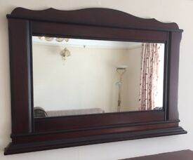 Large Mirror, With Dark Oak Effect Surround