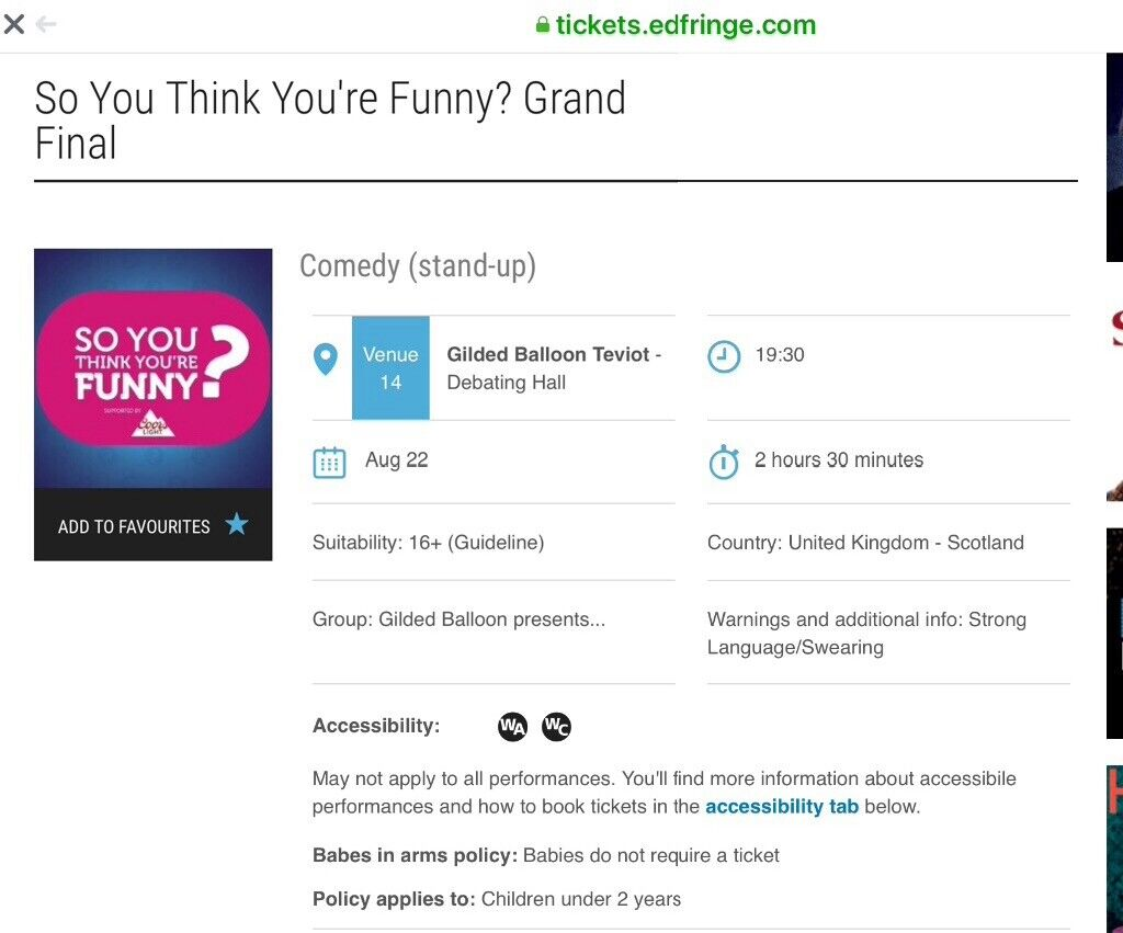 """2 x tickets for """"So You Think You Are Funny"""" Grand final Thursday 22nd Aug  