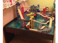 Wooden train table with full track set, come with acrylic protect panel