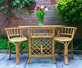 Stunning glass top bamboo bistro set with two chairs