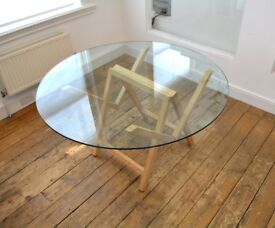 Glass table with wooden base, seats 4-5