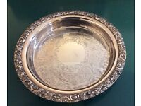 Vintage/Antique Chased Sheffield, Silver Plated Stainless Steel Deep Gallery Salver Tray