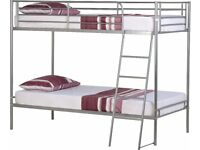 SAMEDAY Delivery 3Ft Single Bunk Bed Silver Black White Mattress Options Call James