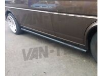 VW T5 T5.1 T6 SWB LWB Transporter Black Flat End Side Bars
