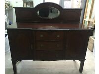 Antique/vintage mahogany sideboard/chest of drawers with original handles and upstand mirror