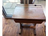 Vintage solid oak school desk