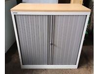 Locking Bisley Grey Metal Tambour Storage Cabinet With Wood Effect Top
