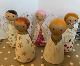 Wooden angel decorative pieces