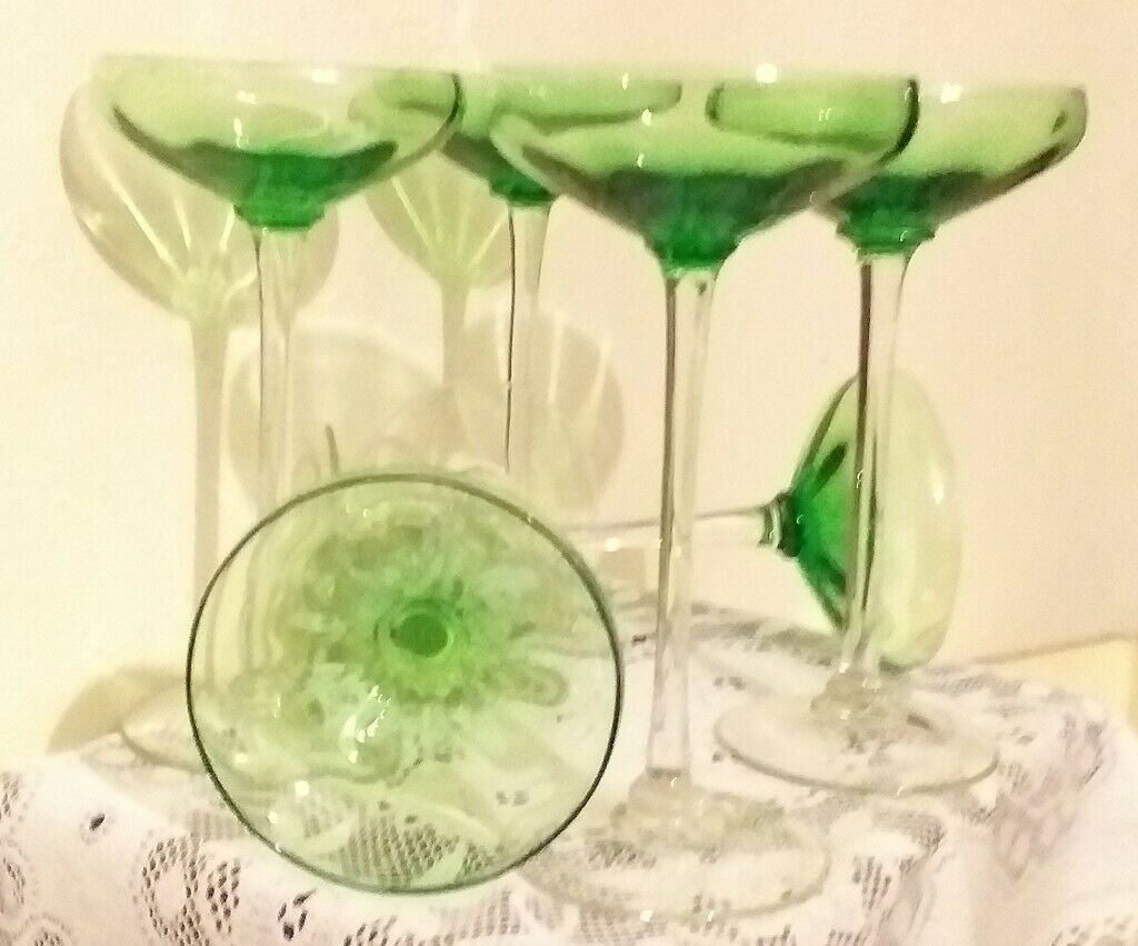 Art Deco Coupe Small Green Champagne Glasses In Colliers Wood London Gumtree