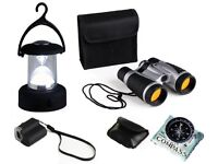 Childrens Adventure Set Binoculars, Lantern, Microscope & Compass **NEW & UNUSED**