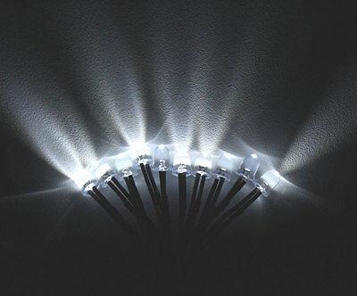 2pcs 8mm Led White Lamp 55cm Pre Wired Round Emitting Diode Light Bulb 9-12v