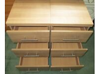 2 x Oak effect bedside or office drawers.
