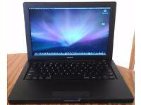 Macbook Black Apple laptop Intel 2.4ghz Core 2 duo with 500gb hard drive