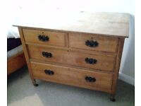 Satinwood 3 draw Chest of draws on castors with oak lined draws