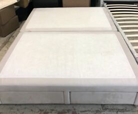 Divan Base Velvet White King Size