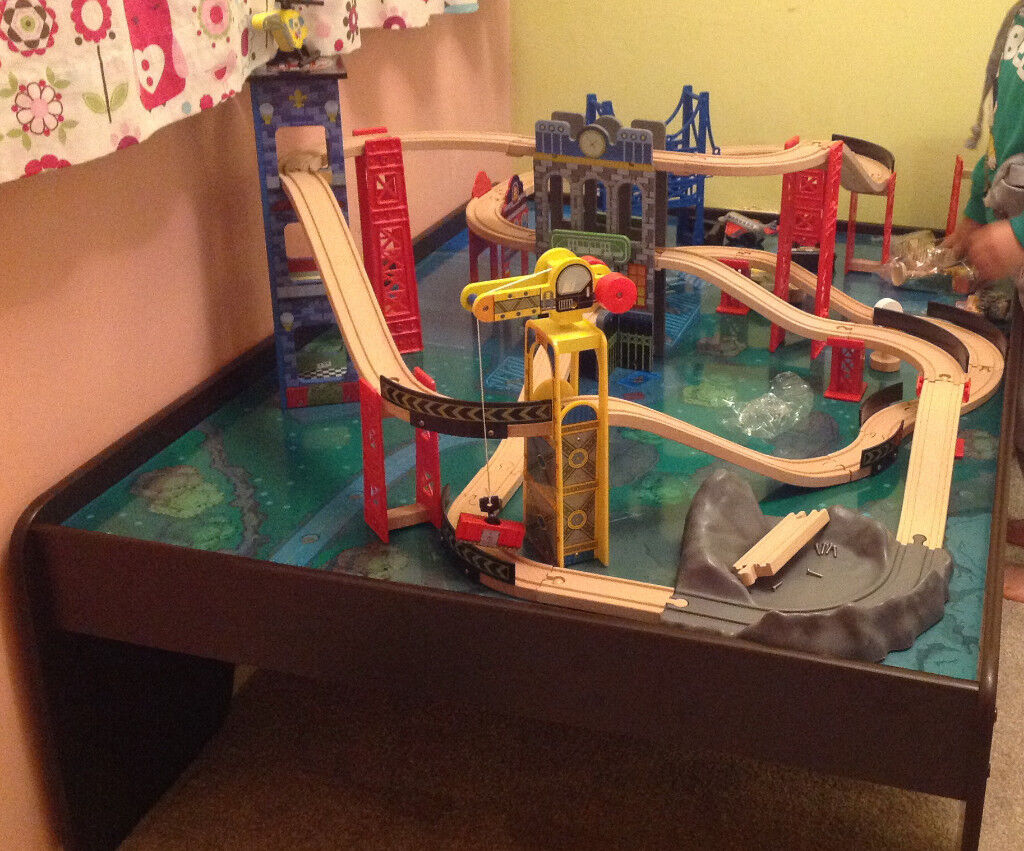 KidKraft Wooden train table with full track set, come with acrylic protect  panel | in Orpington, London | Gumtree