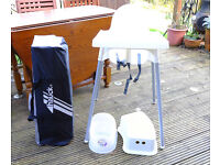 TRAVEL COT, HIGH CHAIR, POTTY and TOILET STEP