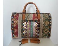 Southwestern Bohemian Design Travel Weekend Shoulder Duffle Holdall Bag / Hippie Duffel Handbag
