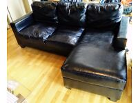 FREE BLACK SOFA/COUCH L SHAPE FAUX LEATHER