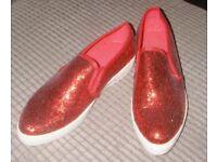 RED GLITTER SLIP ON ESPERELLS SIZE UK6/EUR 38