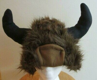 New BIG bills horns fake fur buffalo bull VIKING MONSTER halloween costume ADULT